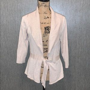 White House Black Market 3/4 Tie Front Cardigan M